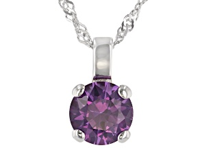 Lab Created Color Change Sapphire Rhodium Over Sterling Silver Pendant With Chain 2.27ctw