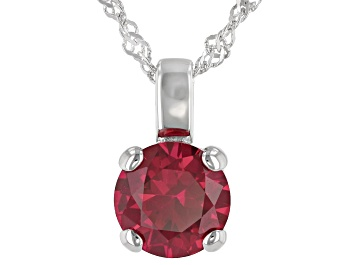 Picture of Lab Created Ruby Rhodium Over Sterling Silver Pendant With Chain 2.27ctw