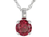 Lab Created Ruby Rhodium Over Sterling Silver Pendant With Chain 2.27ctw