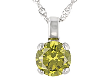 Picture of Green Cubic Zirconia Rhodium Over Sterling Silver Pendant With Chain 3.54ctw