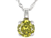 Green Cubic Zirconia Rhodium Over Sterling Silver Pendant With Chain 3.54ctw