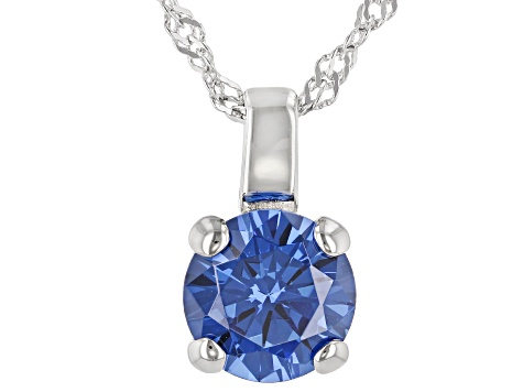 Blue Lab Created Sapphire  Rhodium Over Sterling Silver Pendant With Chain 3.17ctw