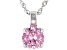Pink Cubic Zirconia Rhodium Over Sterling Silver Pendant With Chain 3.47ctw