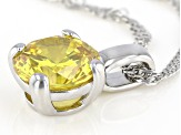 Yellow Cubic Zirconia Rhodium Over Sterling Silver Pendant With Chain 3.40ctw
