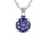 Blue Cubic Zirconia Rhodium Over Sterling Silver Pendant With Chain 2.00ctw