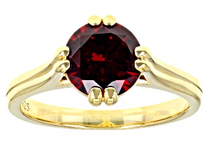 Red Cubic Zirconia 18K Yellow Gold Over Sterling Silver Ring 3.31ctw