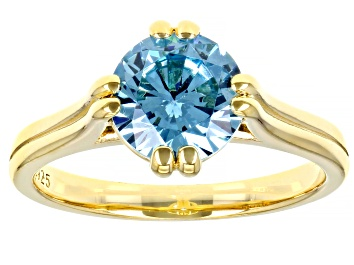 Picture of Blue Cubic Zirconia 18K Yellow Gold Over Sterling Silver Ring 3.18ctw