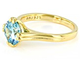 Blue Cubic Zirconia 18K Yellow Gold Over Sterling Silver Ring 3.18ctw