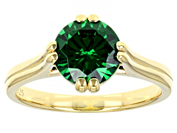 Picture of Green Cubic Zirconia 18K Yellow Gold Over Sterling Silver Ring 3.32ctw