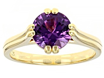 Picture of Lab Created Color Change Sapphire 18K Yellow Gold Over Sterling Silver Ring 2.27ctw