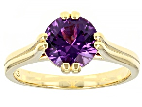 Lab Created Color Change Sapphire 18K Yellow Gold Over Sterling Silver Ring 2.27ctw