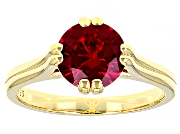 Picture of Lab Created Ruby 18K Yellow Gold Over Sterling Silver Ring 2.30ctw