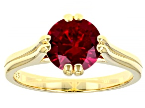 Lab Created Ruby 18K Yellow Gold Over Sterling Silver Ring 2.30ctw