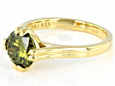Green Cubic Zirconia 18K Yellow Gold Over Sterling Silver Ring 3.54ctw