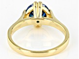 Blue Cubic Zirconia 18K Yellow Gold Over Sterling Silver Ring 3.17ctw