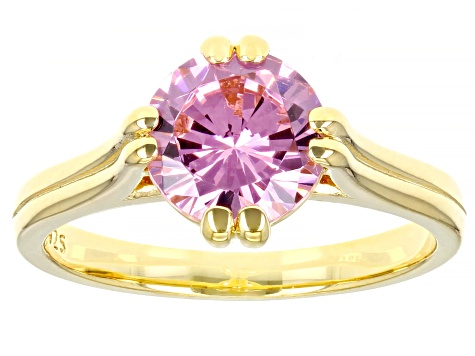 Pink Cubic Zirconia 18K Yellow Gold Over Sterling Silver Ring 3.47ctw
