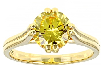 Picture of Yellow Cubic Zirconia 18K Yellow Gold Over Sterling Silver Ring 3.40ctw