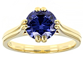 Blue Cubic Zirconia 18K Yellow Gold Over Sterling Silver Ring 3.50ctw