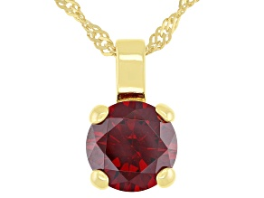 Red Cubic Zirconia 18K Yellow Gold Over Sterling Silver Pendant With Chain 3.31ctw