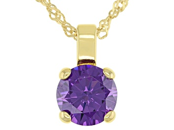 Picture of Purple Cubic Zirconia 18K Yellow Gold Over Sterling Silver Pendant With Chain 3.62ctw