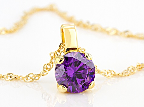 Purple Cubic Zirconia 18K Yellow Gold Over Sterling Silver Pendant With Chain 3.62ctw
