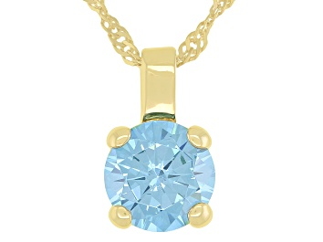 Picture of Blue Cubic Zirconia 18K Yellow Gold Over Sterling Silver Pendant With Chain 3.18ctw