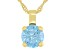 Blue Cubic Zirconia 18K Yellow Gold Over Sterling Silver Pendant With Chain 3.18ctw