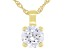 White Cubic Zirconia 18K Yellow Gold Over Sterling Silver Pendant With Chain 3.45ctw