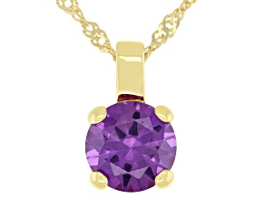 Lab Created Color Change Sapphire 18K Yellow Gold Over Sterling Silver Pendant With Chain 2.27ctw