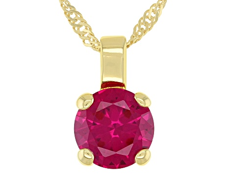 Lab Created Ruby 18K Yellow Gold Over Sterling Silver Pendant With Chain 2.27ctw