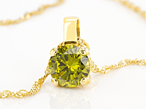 Green Cubic Zirconia 18K Yellow Gold Over Sterling Silver Pendant With Chain 3.54ctw