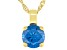 Blue Cubic Zirconia 18K Yellow Gold Over Sterling Silver Pendant With Chain 3.17ctw