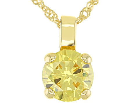 Yellow Cubic Zirconia 18K Yellow Gold Over Sterling Silver Pendant With Chain 3.40ctw