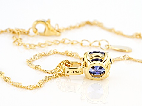 Blue Cubic Zirconia 18K Yellow Gold Over Sterling Silver Pendant With Chain 3.50ctw