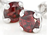 Red Cubic Zirconia Rhodium Over Sterling Silver Earrings 2.90ctw