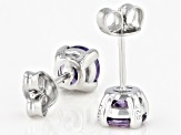 Purple Cubic Zirconia Rhodium Over Sterling Silver Earrings 3.18ctw