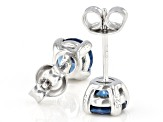 Blue Cubic Zirconia Rhodium Over Sterling Silver Earrings 3.00ctw