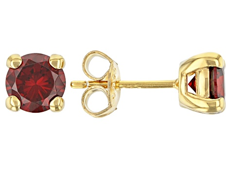 Red Cubic Zirconia 18K Yellow Gold Over Sterling Silver Earrings 2.90ctw