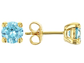 Blue Cubic Zirconia 18K Yellow Gold Over Sterling Silver Earrings 2.75ctw
