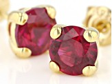 Lab Created Ruby 18K yellow Gold Over Sterling Silver Earrings 1.97ctw