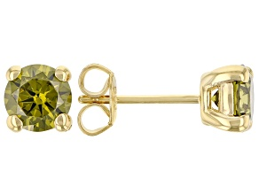 Green Cubic Zirconia 18K Yellow Gold Over Sterling Silver Earrings 2.89ctw