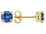 Blue Cubic Zirconia 18K Yellow Gold Over Sterling Silver Earrings 3.00ctw