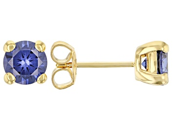 Picture of Blue Cubic Zirconia 18K Yellow Gold Over Sterling Silver Earrings 2.82ctw