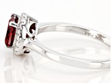Red And White Cubic Zirconia Rhodium Over Sterling Silver Ring 2.25ctw