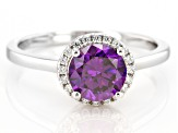 Purple And White Cubic Zirconia Rhodium Over Sterling Silver Ring 2.53ctw