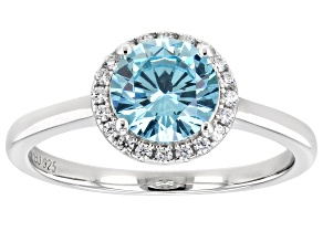 Light Blue And White Cubic Zirconia Rhodium Over Sterling Silver Ring 2.29ctw