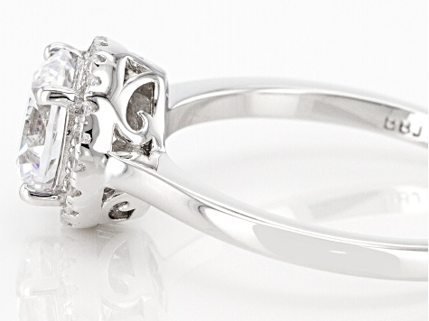 White Cubic Zirconia Rhodium Over Sterling Silver Ring 2.56ctw