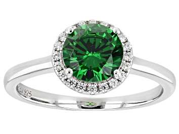 Picture of Green And White Cubic Zirconia Rhodium Over Sterling Silver Ring 2.22ctw