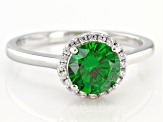 Green And White Cubic Zirconia Rhodium Over Sterling Silver Ring 2.22ctw