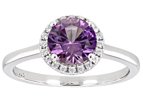Synthetic Color Change Sapphire And White Cubic Zirconia Rhodium Over Sterling Silver Ring 1.82ctw